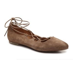 Me Too Amber Lace Up Ballet Flats Suede Beige